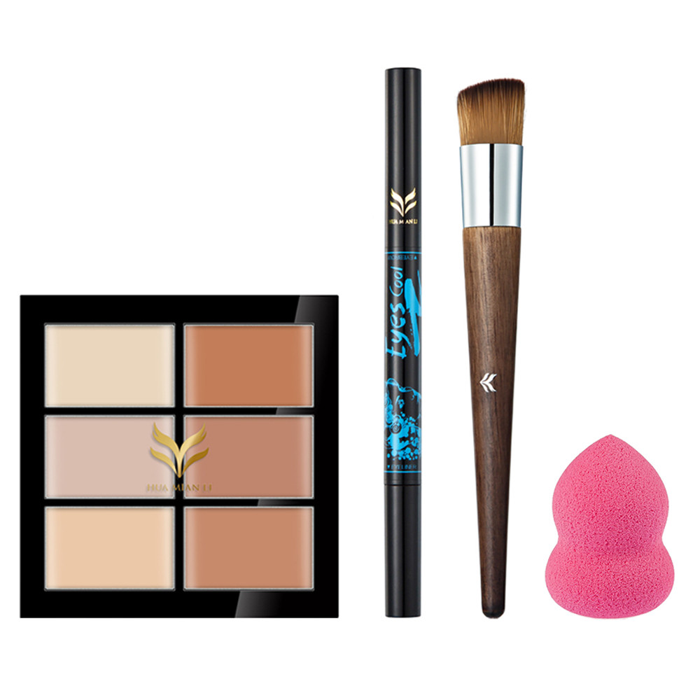 Foundation Makeup Brush+6 Color Concealer Grooming Makeup Palette+Gourd Puff+ Eyebrow and Eyeliner Double-end Pencil Make Up Set saiantth makeup tool set kit combination 15 color concealer palette toothbrush makeup brush water drops sponge puff cosmetic