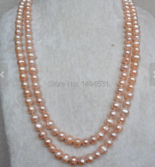 Wholesale Pearl Jewelry - Pink Color 8.5-10mm 52 Inches Genuine Freshwater Pearl Necklace - Fashion Lady's Jewelry.