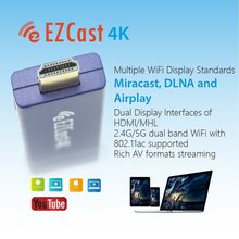 Newcoming EZCast 4K*2K Wifi display dongle,HD 1080PHDMI Support iOS Android DLNA ,2.4G/5G dual band WiFi with 802.11ac