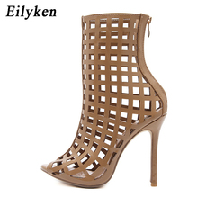 Eilyken Gladiator Sandals Ankle-Wrap Boots Women Cut-outs 11cm High Heel Zipper Sandals Party Woman Shoes SIZE 35-40