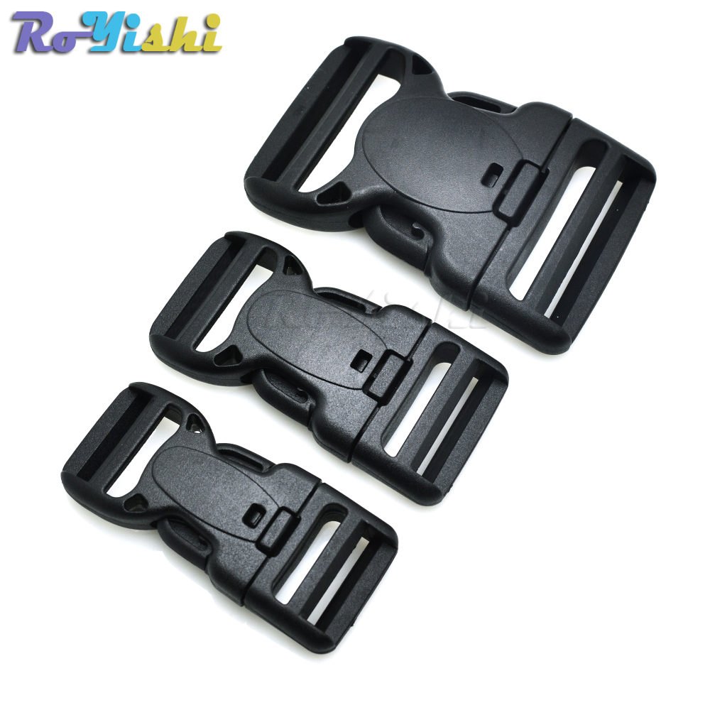 Plastic Dual Adjustable & Security Double Lock Buckle For Tactical Belts Black