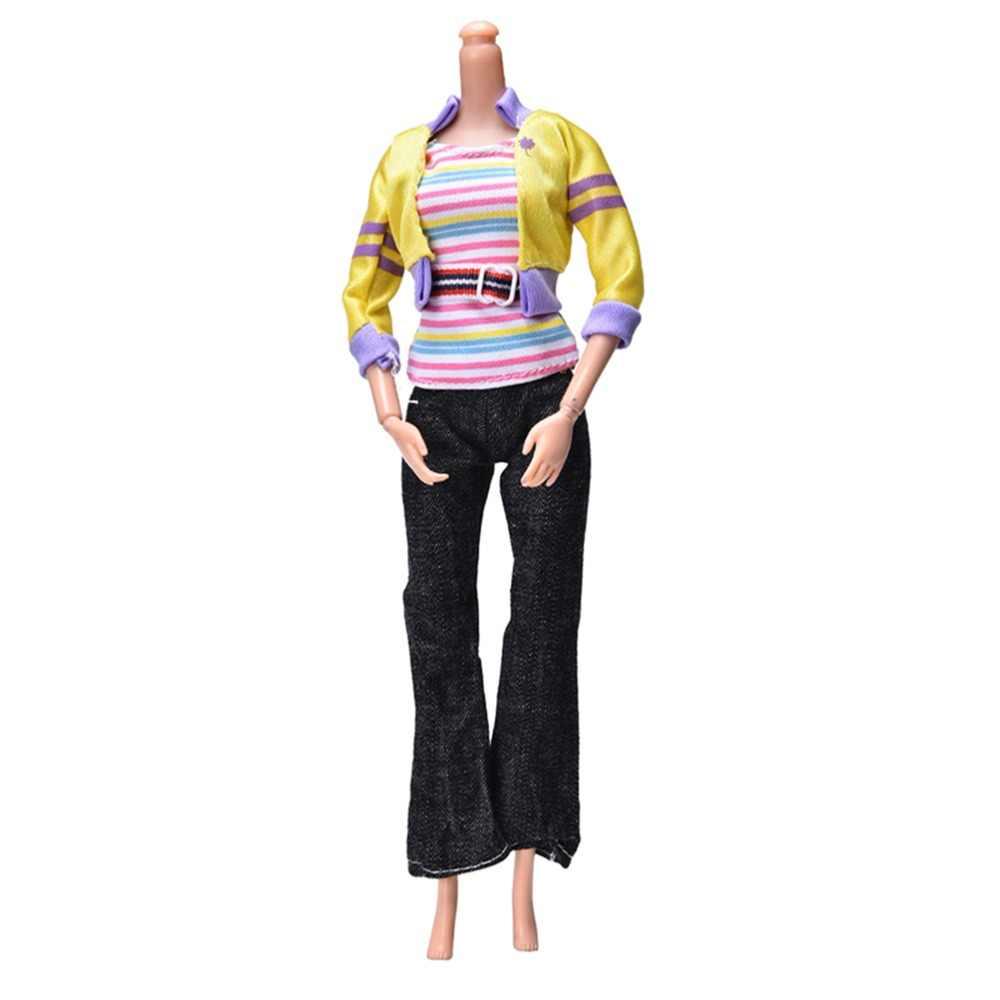2018 黄色のコート黒パンツ虹ベスト人形アクセサリーファッション手作り服人形