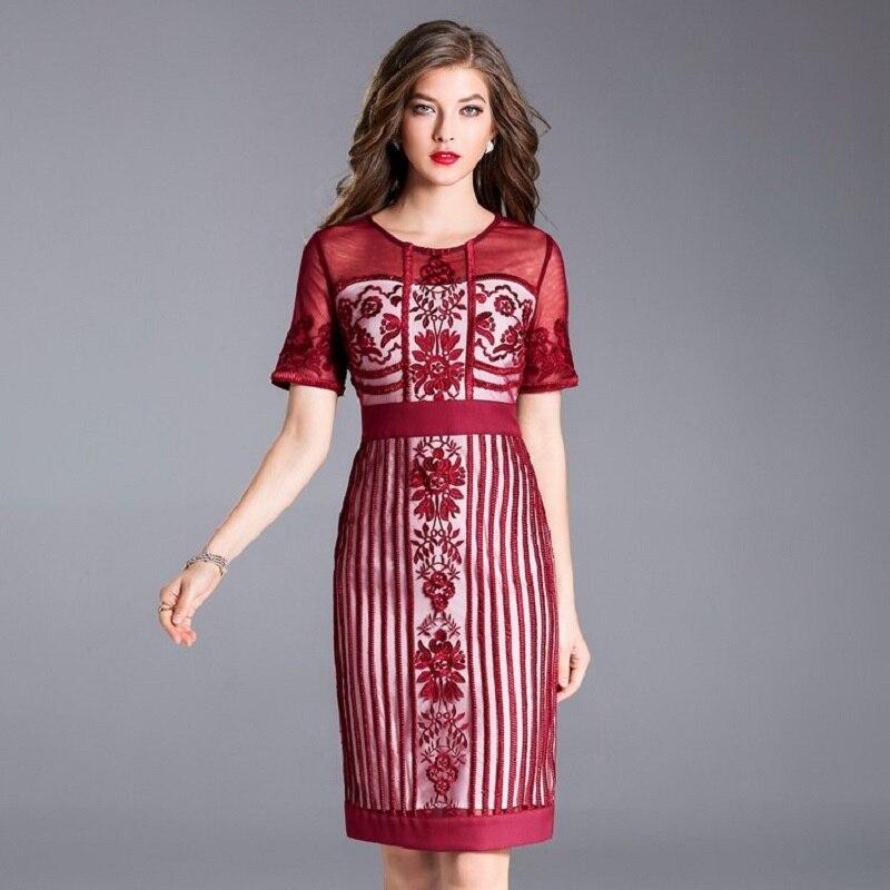 Dentelle rouge Nouvelle Femmes Plus D'affaires De M Xxxl Vintage Robes Printemps Travail Bureau Broderie Robe Été Taille Luxe Élégant 2018 Noir jSMpLzVGqU