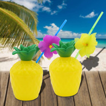 Kunstmatige Kokosnoot Plastic Hawaiian Beach Party Accessoire Strand Tropische Ananas Drink Cup en Stro Decoratie Rietje(China)