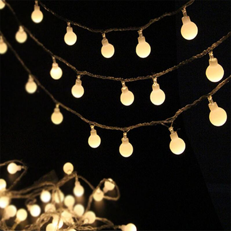 10M 50 LED Globe String Lights Warm White/White Ball Fairy Light for Party Christmas Wedding New Year Indoor&outdoor Decoration 3w 20 led white decoration string light for wedding christmas fairy party transparent