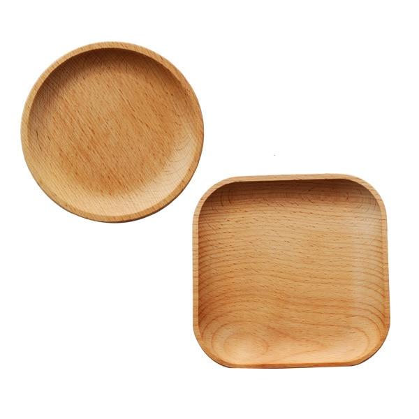 Деревянная сервировочная тарелка, деревянная квадратная и круглая сервировочная тарелка, фруктовый десертный торт Снэк Конфета тарелка деревянные миски-0