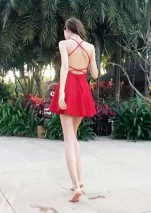 HTB1VOC8HpXXXXXsXVXXq6xXFXXX1 - FREE SHIPPING Women Sexy Cross Spaghetti Strap Sling High Waist Backless Off shoulder Slim Dress JKP279