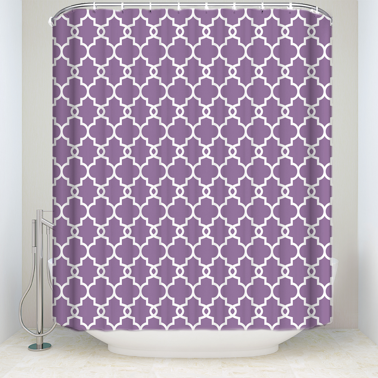 Us 18 51 40 Off New Arrival Waterproof Moroccan Style Geometric Pattern Shower Curtain Polyester Fabric Purple Bathroom Curtains For Home Decor In