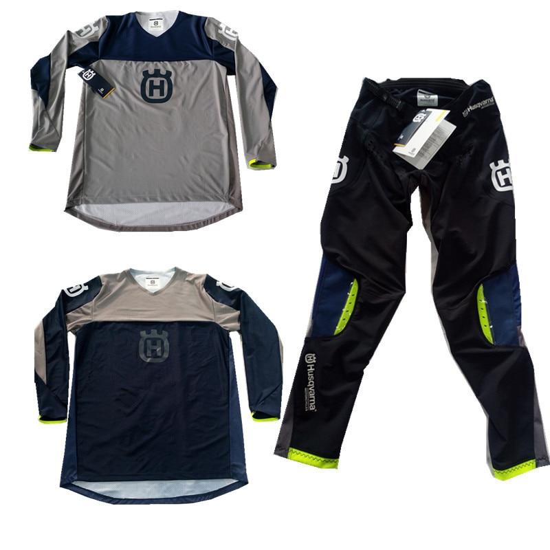 2019 Husqvarna Husky Style Men Motocross Suit Motobiker Racing Riding Jersey Pants Motorcycle MX riding combination