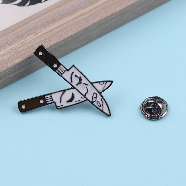 Funny Knife Enamel Lapel Pins Double Dagger Brooch with Female Face Hat Backpack Clothes Jewelry Accessories Gifts for Women Men