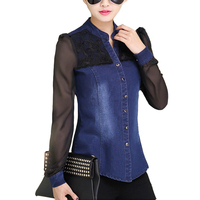 Womens Tops Fashion 2015 Brand Denim Shirt Long Sleeve V Neck Chiffon Lace Patchwork Jeans Shirt