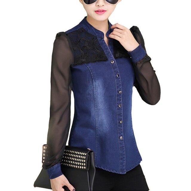Partes Superiores das mulheres Da Moda 2017 Estilo Coreano Mulheres Denim Shirt Top Corpo de Jeans Camisas Com Mangas Compridas Camisa Jeans Feminina Blusa