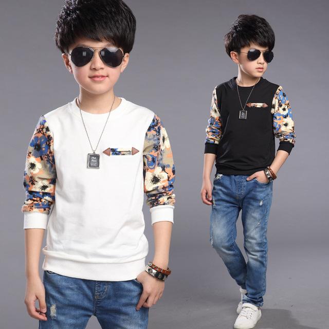 Otoño del ocio del muchacho camisetas impresas niños 100% algodón blanco de manga larga impresa niños negros jerseys TOP20