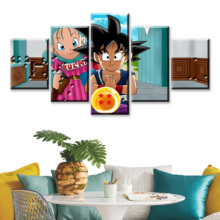 HD Prints Canvas Pictures Modern Wall Art 5 Pieces Cartoon Dragon Ball Z Paintings Goku Ride Shenron Poster Home Decor Framework dragon ride