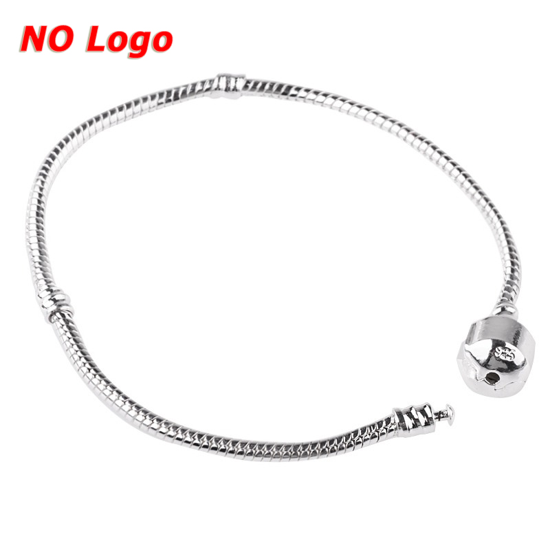 Fashion European Silver Plated Bracelet & Bangle Snake Chain Barrel Clasp fit for Women Colorful DIY Bead Charms Jewelry Gifts