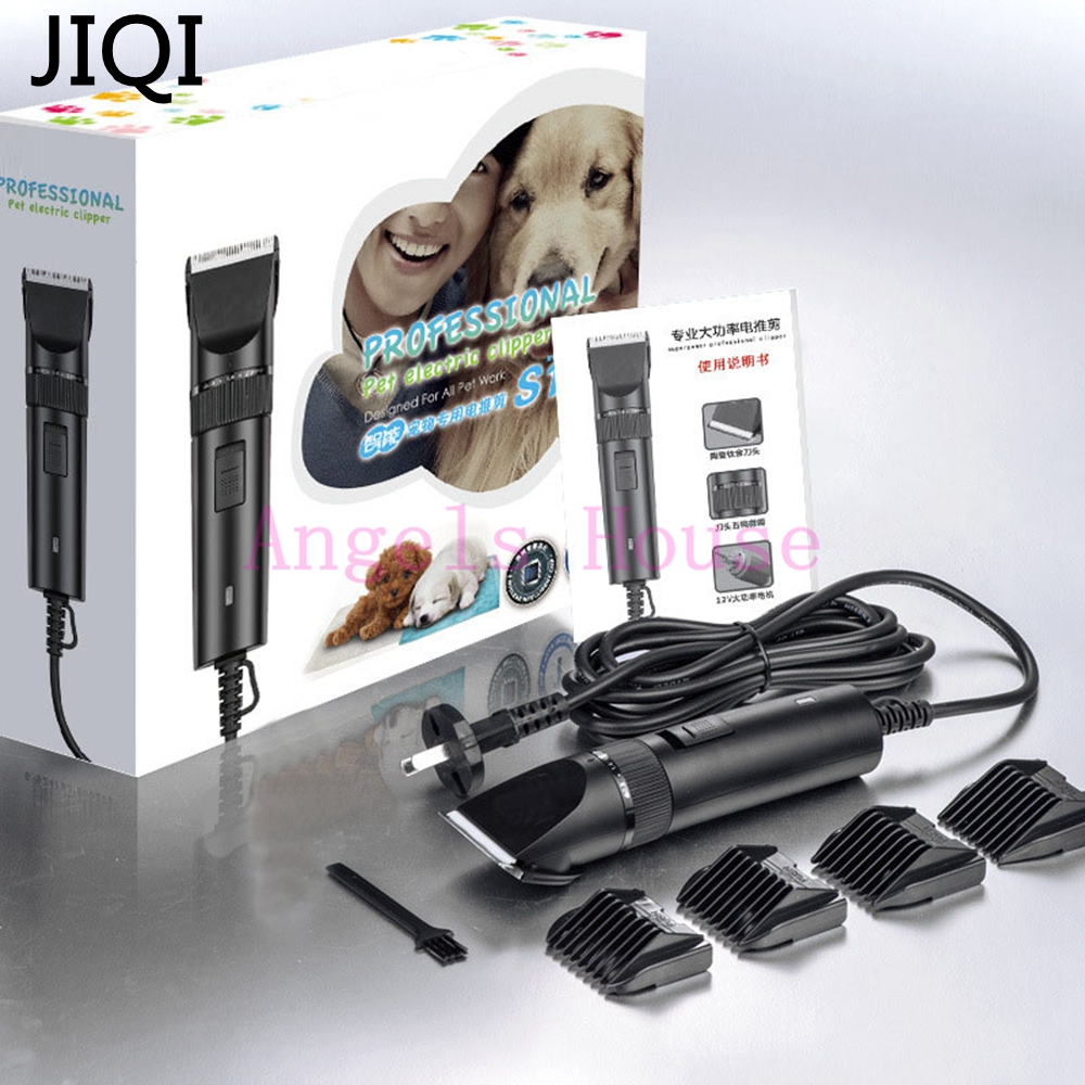 JIQI 110V/220V Dual Voltage Cat Dog Clippers Electrical Shaver Pet Haircut Machine Hair Trimmer Shaving Dog Hair Clipper codos dog haircut machine pet hair trimmer animals grooming clippers professional shaver dog cat electric hair cutter cp 9500