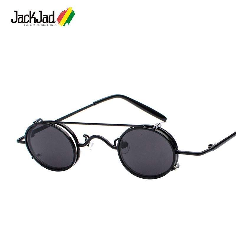 JackJad 2018 Fashion Small Oval Frame Gothic SteamPunk Style Sunglasses Cool Lens Removable Clip On Sun Glasses Oculos De Sol