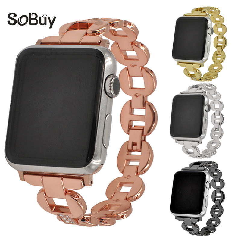 So buy diamond alloy stainless steel for apple watch iwatch band 42 wristband 38mm wirst strap metal Link bracelet 1/2/3 series