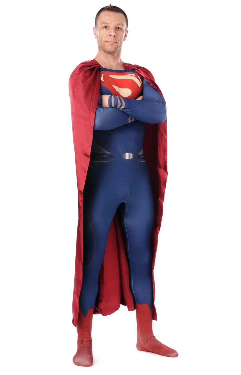 Fashion New Men s Superman Cosplay Costumes For Adults Spandex Zentai Male Suits Super Hero Bodysuit
