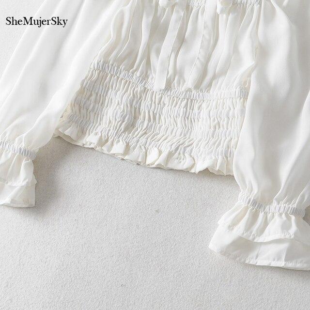 SheMujerSky Women Sexy Off Shoulder Chiffon Blouse Elastic Bandage Short Tops White Shirt 2019 koszula 5