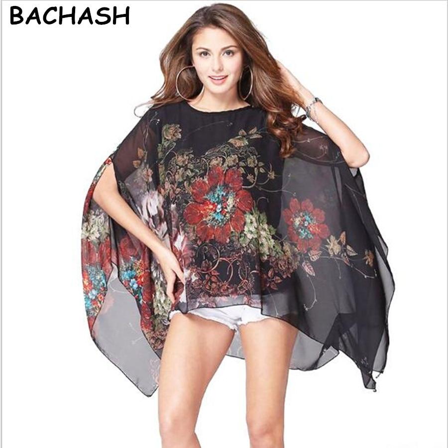 BACHASH 2017 Nueva Venta Caliente de La Impresión de La Gasa Blusas Moda las muj