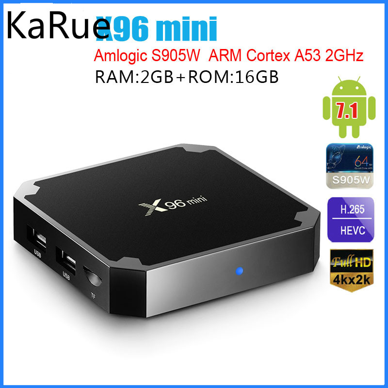 KaRue X96mini Android 7.1.2 TV BOX 2GB 16GB 1GB 8GB Amlogic S905W Quad Core Suppot H.265 UHD 4K 2.4GHz WiFi Set-top box