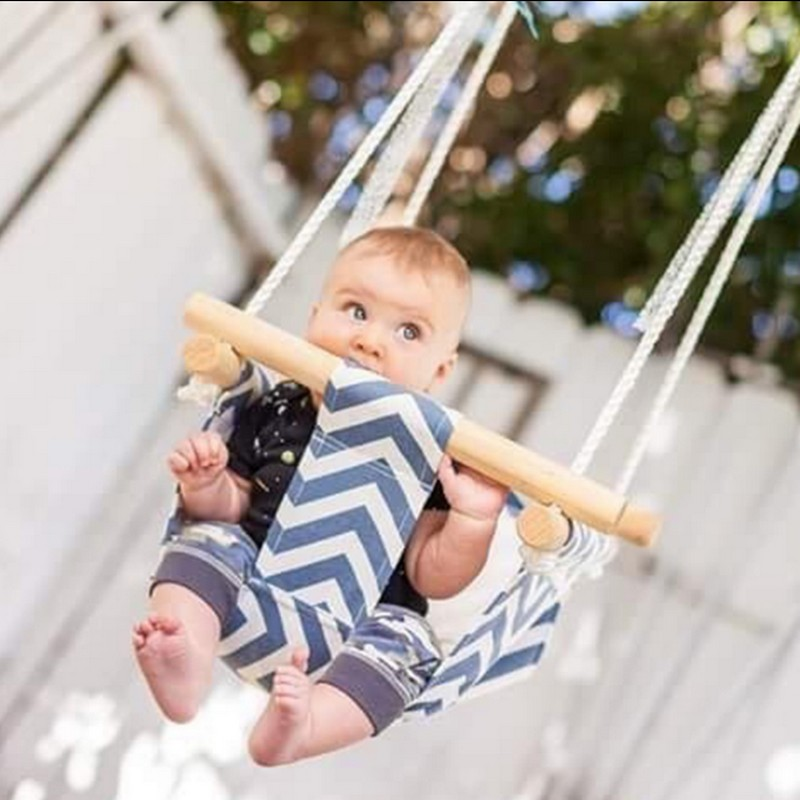 Baby Canvas Swing Hanging Chair Wooden Children Kindergarten Outdoor Toy Indoor Small Swinging Basket Rocking Chair With Cushion