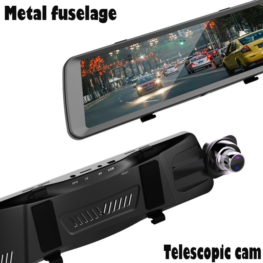 CUagain C78 Double 1080P Car Camera Mirror Parking DVR 10 inch IPS Screen Dash Cam Video Recorder Night Vision Camera Carro
