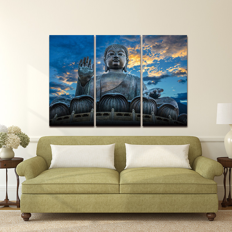 modern buddha head portrait painting printed on canvas religion wall art triptych canvas painting home decoration wall murals