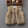 Sale Autumn winter faux Fur Baby Girl Vest Kids Leather Fur Catamite Girl Loose Coat Waistcoat