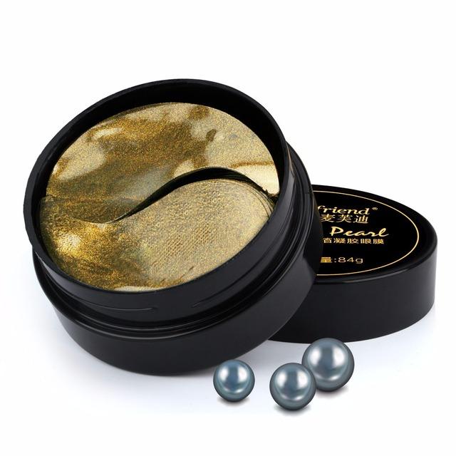 Cuidado de los ojos 60 unids/Botella Negro Perla de Oro Del Colágeno Máscara de Ojo Máscara para Dormir Máscara Hidratante Antiarrugas Ojeras Parches en los ojos