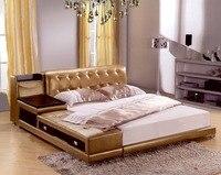 Post современные реальные натуральная кожа кровать/мягкая кровать/двуспальная кровать king/queen size мебель для спальни с коробка для хранения и б