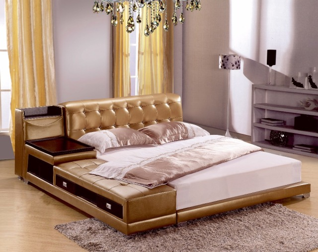 Post Modern Real Genuine Leather Bed Soft Double King Queen Size Bedroom Home Furniture With Storage Box And Sideboard