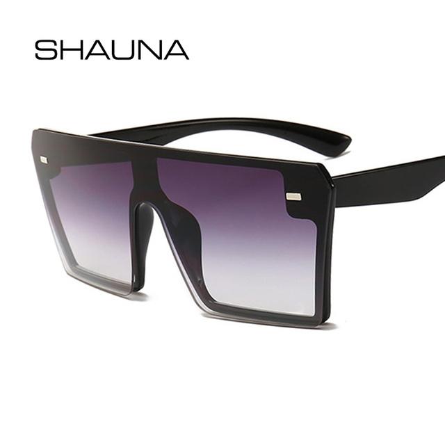 SHAUNA Oversize Square Sunglasses Women Fashion Flat Top Gradient Glasses Men