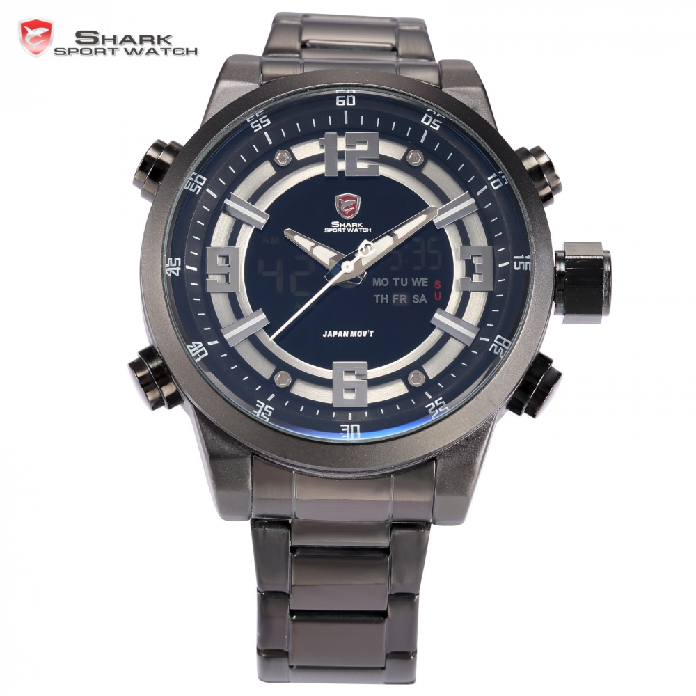 SHARK Sport Watch Luxury Brand Men Relogio Dual Time Date Day Stainless Full Steel Quartz Male Clock Military Tag Watch / SH344