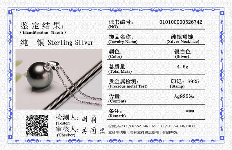 נשלח תעודה! מקורי 925 מוצק כסף תליון שרשרת נשים מתנה טבעי פרל שרשרת חתונה תכשיטים עבור כלה CHN01