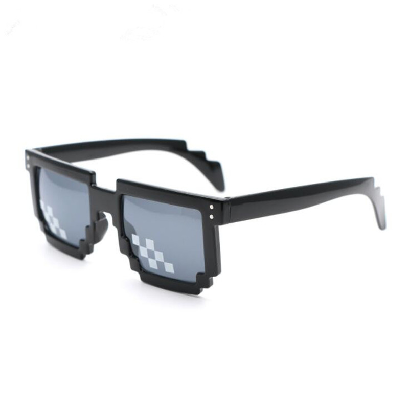 Funny Spoof Whole Person Thug Life Glasses 8 Bit Pixel Unisex Toy Sunglasses 2style To Choose Emoji Eyewear For April Fools Day Costumes & Accessories