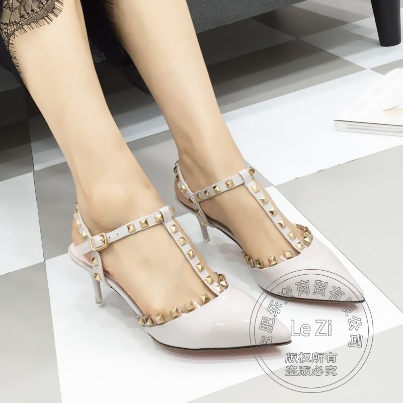 Brand Shoes font b Woman b font Hasp Shoe Womens Slender T Strap Rivets Celebrity Famous