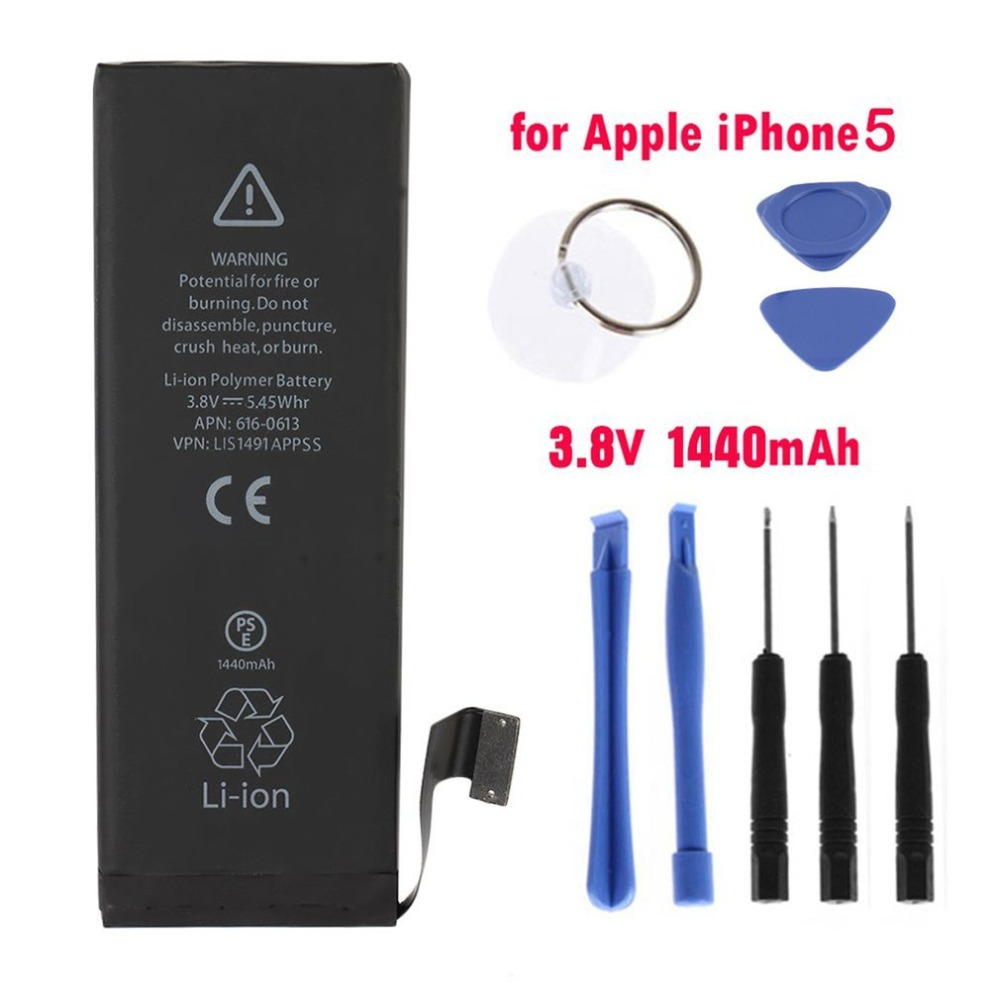 1440mAh High Capacity Built-in Lithium Battery For iPhone 5 Mobile Phone Replacement Battery For iPhone5 with Free Repair Tools ...