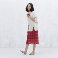 XianRan 2015 Women Plaid Skirts Linen Casual Long Side Split Skirt Loose Plus Size Skirts High