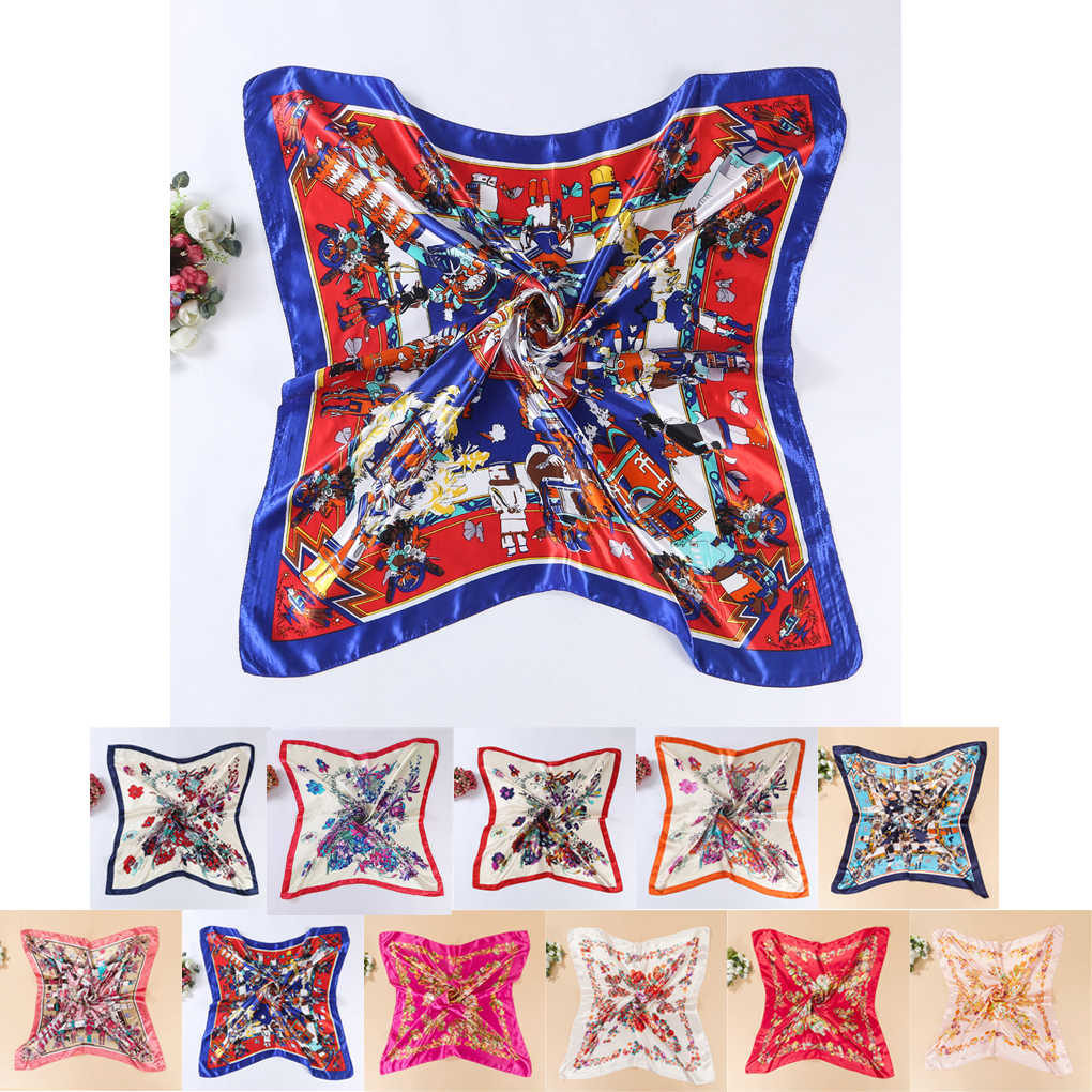 Womens Square Silk-like Satin Large   Scarf     Wrap   Butterfly Floral Shawl 90*90cm