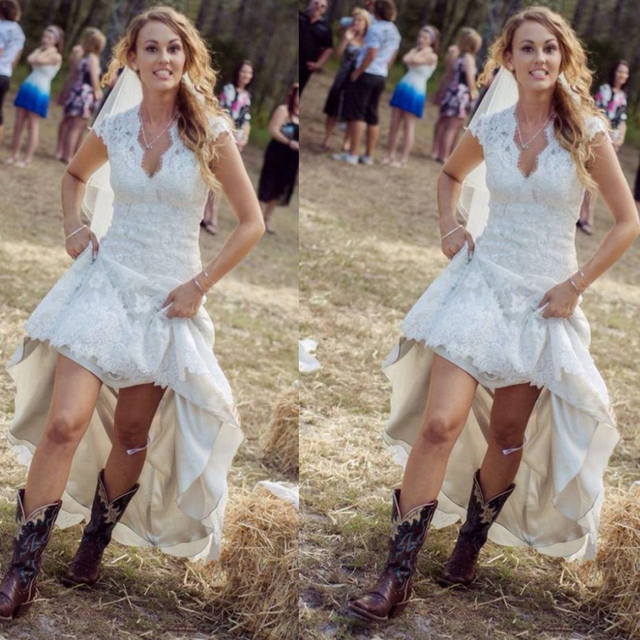 Vintage High Low Rustic Wedding Dresses Cheap Sexy V Neck Cap Sleeve