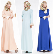 Hot Selling 2016 Muslim Womens Abayas Dresses Long Sleeve O Neck Floor Length New Islamic Womens