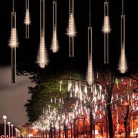 Waterproof LED Lamp SMD2835 Christmas Meteor Shower Rain Lamp 50CM 10 Tube Snow Warm White Color