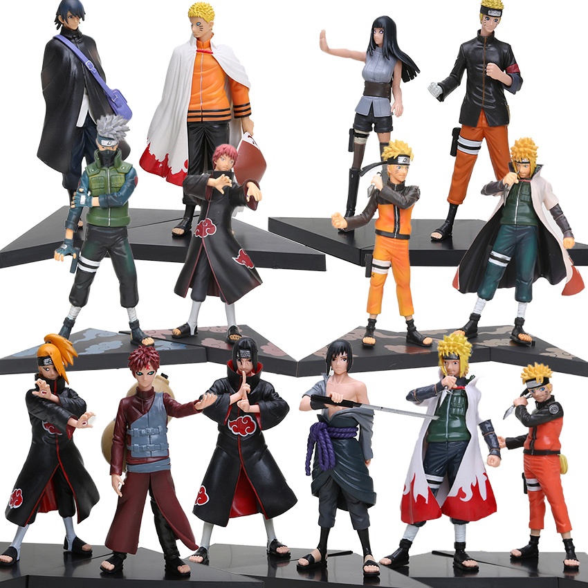 14-24cm 2pcs/set Naruto Shippuden PVC Figures Set Hatake Kakashi Shikamaru Namikaze Uchiha Sasuke Minato Hyuuga Hinata Model Toy