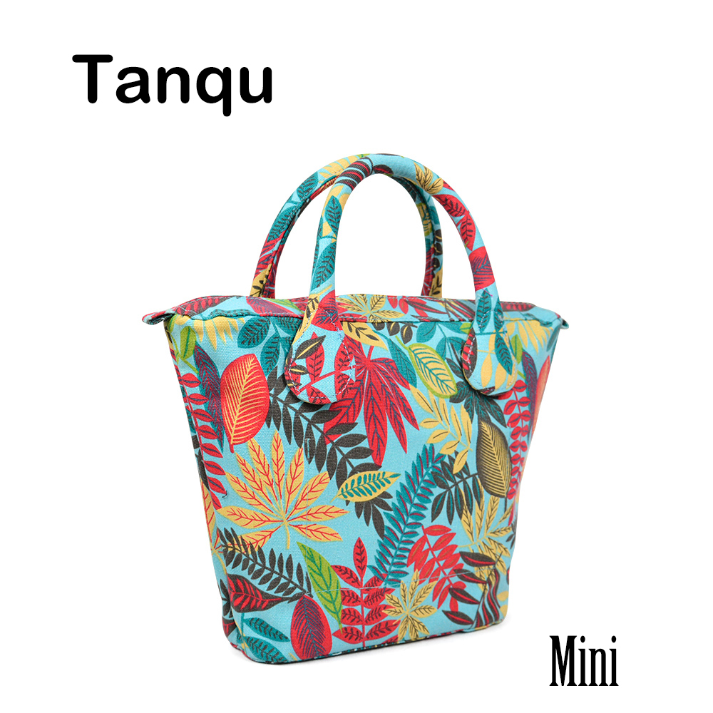 TANQU Short Round Flora Canvas Fabric Handle with Mini Insert Lining for Obag Mini O Bag Women's Bags Shoulder Handbag new colorful cartoon floral insert lining for o chic ochic canvas waterproof inner pocket for obag women handbag
