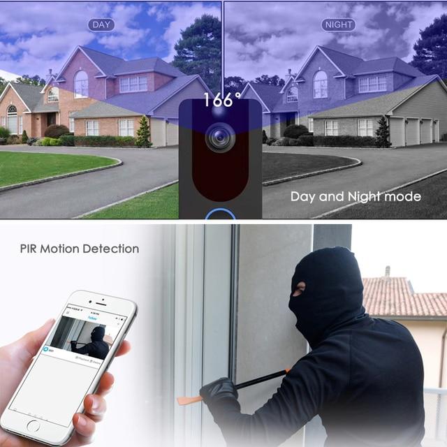 EKEN V7 HD 1080P inteligentne WiFi dzwonek z kamerą wideo domofon wizyjny Night vision IP dzwonek do drzwi bezprzewodowa kamera do monitoringu