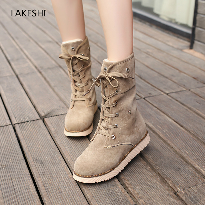 LAKESHI Brand Women Boots Fur Warm Snow Boots Female Suede Lace Up Ankle Boots Women Flat Shoes Women Bottes Winter Shoes shoes women flat winter ankle autumn snow boots 2017 female lace up fur boots brand outdoor sport girl shoe size 35 41 page 6