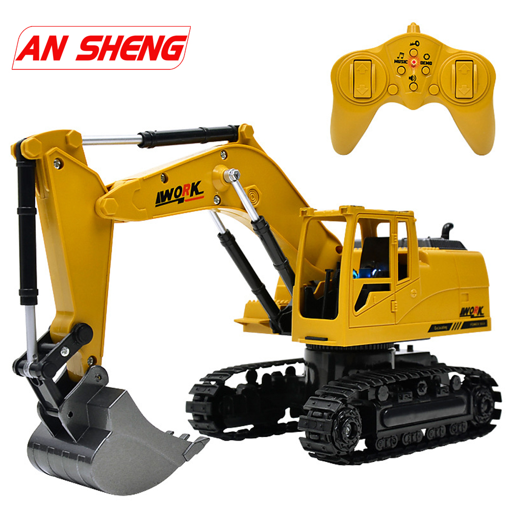 Simulation RC Excavator Toys With Music And Light Children's Boys RC Truck Toys Gifts RC Engineering Car Compatible Legoes
