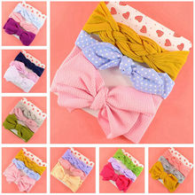 3pc/Set Baby Headband For Girls Rabbit Ear Big Bows Infant Top knot Turban Hair Accessories Children Hairband HB298